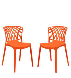 Trio Cafeteria Chair Set of Two in Orange Color By Attro