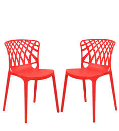 Trio Cafeteria Chair Set of Two in Red Color By Attro