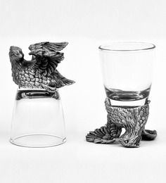 Trove World Of Animal Pewter and Glass 50ML Bobwhite Head Shot Glass - Set of 2
