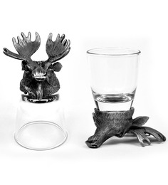 Trove World Of Animal Pewter and Glass 50ML Moose Head Shot Glass - Set of 2