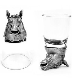 Trove World Of Animal Pewter and Glass 50ML Horse Head Shot Glass - Set of 2