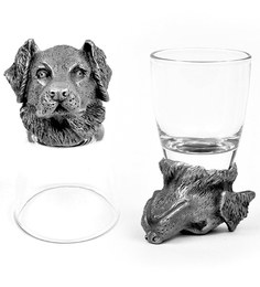 Trove World Of Animal Pewter and Glass 50ML Labrador Head Shot Glass - Set of 2