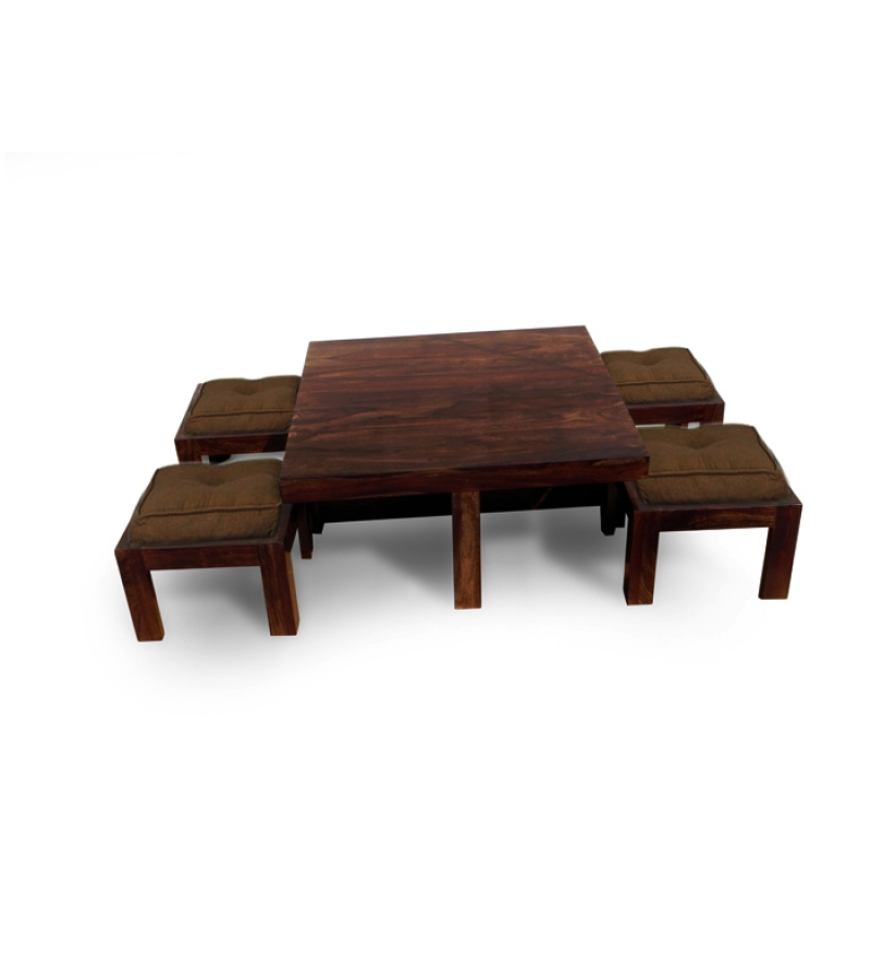 Basil Trendy Coffee Table With 4 Stools Best Deals With
