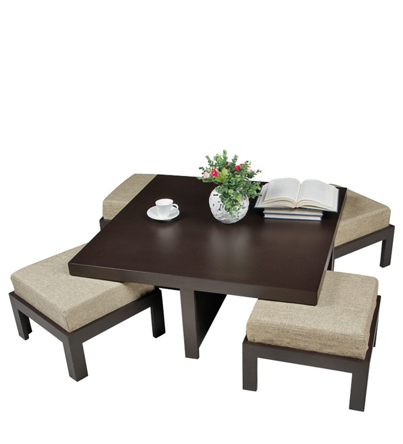 Buy Trendy Coffee Table With Four Jute Cushioned Stools By Arra Online Square Coffee Table