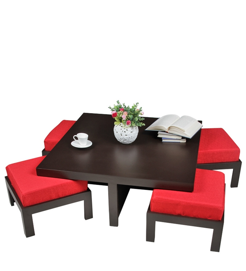 Buy Trendy Coffee Table With Four Red Cushioned Stools By Arra Online Coffee Table Sets