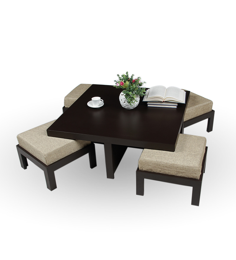 Trendy coffee table with four stools jute by purple heart for Trendy coffee tables