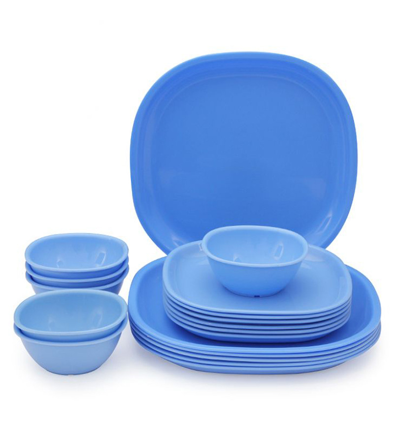 trust guess heat eat square plate bowl set blue by