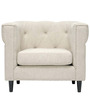 Transitional One Seater Sofa with Barrel Back Style in White Colour by Afydecor