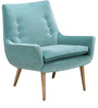 Transitional Chair with Single Button Tufting in Blue Colour by Afydecor