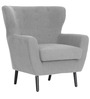 Transitional Chair with Winged & Button Tufted Back in Grey Colour by Afydecor