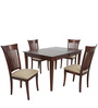 Transitional Four Seater Dining Set in Brown Color by Afydecor