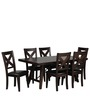 Transitional Teak Wood Six Seater Dining Set in Brown Color by Afydecor
