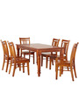 Transitional Style Six Seater Dining Set in Light Wooden Tone by Afydecor