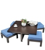 Trendy Coffee Table with Four Blue Cushioned Stools by ARRA