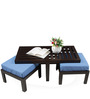 Trendy Coffee Table with Two Blue Cushioned Stools by ARRA