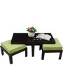 Trendy Coffee Table with Two Green Cushioned Stools by ARRA
