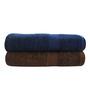 Trident Brown & Navy Blue Cotton Bath Towel Set