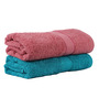 Trident Home Essentials Blue & Red Cotton Ladies Bath Towel Set