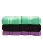 Trident Brown, Green & Lavender Cotton Hand Towel - Set of 6