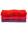 Trident Pink, Purple & Red Cotton Hand Towel - Set of 6