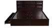 Tsukiko Queen Size Bed with Side Drawers and Box Storage in Wenge Finish by Mintwud