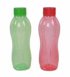 Tupperware Multicolour Round Plastic 1L Bottle - Set of 2