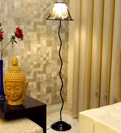 Tu Casa Floor Lamp With Ethnic Print Poly Silk Lamp Shade