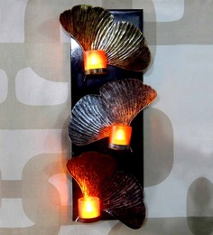 Tu Casa Wall Hanging Candle Holder With 3 LED Candles Metalic