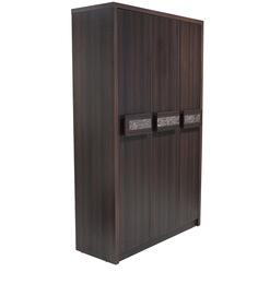 Tulip Three Door Wardrobe in Dark Walnut Finish by Crystal Furnitech