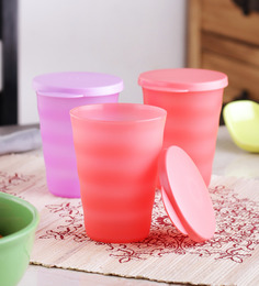 Tupperware Ripple Multicolour Plastic 330 ML Tumbler - Set Of 4