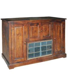 Tuscany Sliding Top Bar Cabinet in Warm Rich Finish by Inliving