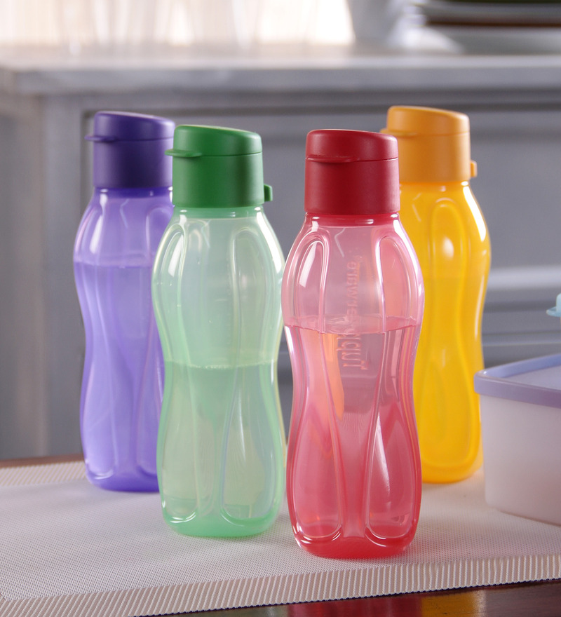 Tupperware Multicolour Plastic 310 ML Fliptop Bottle - Set of 4  available at Pepperfry for Rs.660