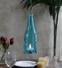 Tu Casa Blue Hanging Glass Bottle Shape Candle Holder With Wax Candle