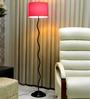 Tu Casa Circular Shade In Black & Pink Metal Floor Lamp
