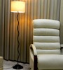 Tu Casa Circular Shade In Black & White Metal Floor Lamp