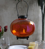 Tu Casa Orange Matki Shape Glass Candle Holder With T Light