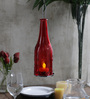 Tu Casa Red Glass Hanging Bottle Shape Candle Holder With Wax Candle