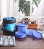Tupperware City Life Blue Plastic Lunch Box Set - Set of 3