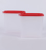 Tupperware Smart Saver White & Red Plastic 1700 ml Airtight Container - Set of 2