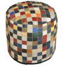 Tuscan Hand-Made Pouffe in Multicolour Colour by The Rug Republic