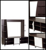 Enrou Entertainment Wall Unit in Chocolate Beech and White Finish by Mintwud