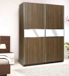 Two Door Sliding Wardrobe with Mirror Panel & Soft-Close Door in Cairo Walnut Finish in MDF by Primorati