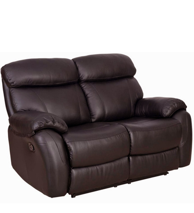 Leather Sofa Price: Two Seater Pure Leather Recliner Sofa In Brown Colour By