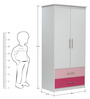 McMimi Two Door Wardrobe with Two Drawers in Red & Pink Colour by Mollycoddle