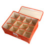 UberLyfe Orange Polyester and Cardboard 12 Cell Divider Storage Box with Lid