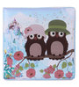 UberLyfe Kids Large Foldable Ottoman Storage Box cum Stool - Brown Owls and Red Flowers