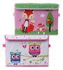 UberLyfe Pink Foldable Kids Storage and Toy Box - Set of 2 (Design - Owls & Fox)