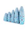 Uberlyfe Women's Multipurpose Floral Print Leather Black & Light Blue Pouch - Set of 10