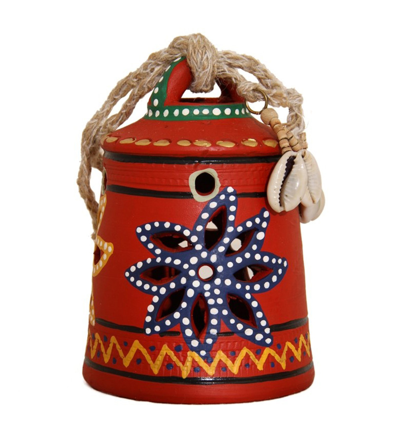 Unravel India Red Terracotta Warli Hand Painted Hanging Bell  available at Pepperfry for Rs.471