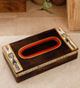 Unravel India Madhubani Painted Wooden Brown Color Tissue Box